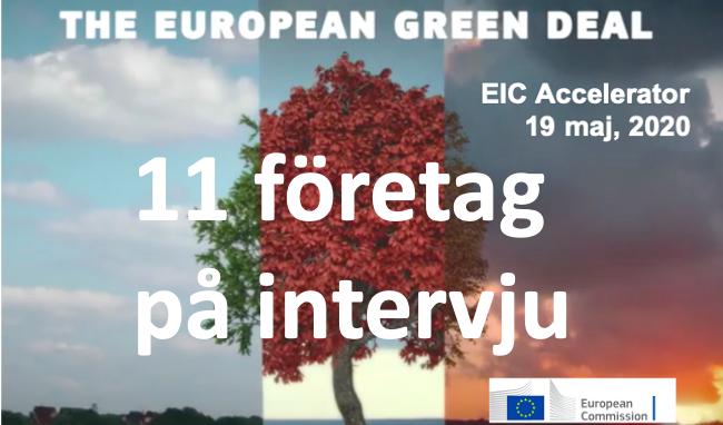 11 vidare till intervju för EIC Accelerator Green Deal