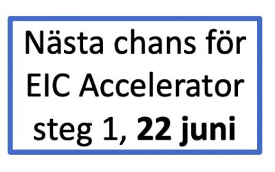 Steg 1 i EIC Accelerator stängd